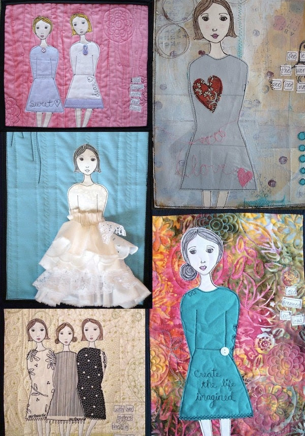 Creative Girl Art Quilt Pattern and Faces in White