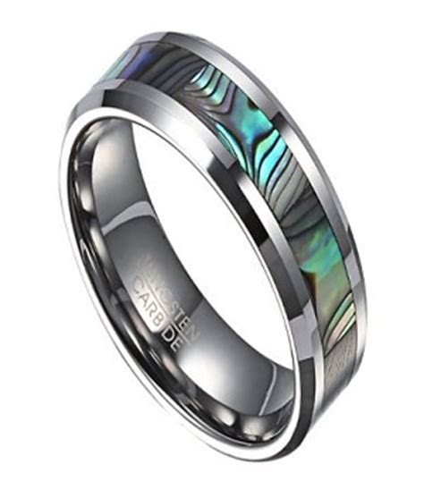 Tungsten Wedding Band for Men with Abalone Shell Inlay
