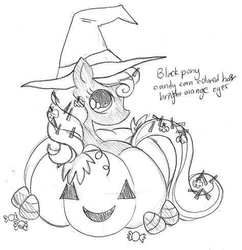 pumpkin halloween pony commission sketch  yampuff