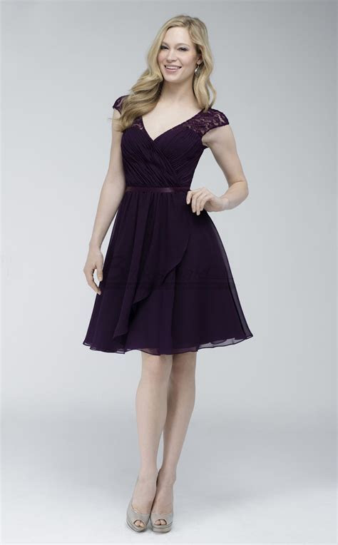Chiffon and Lace Grape Short Open Back Bridesmaid Dress
