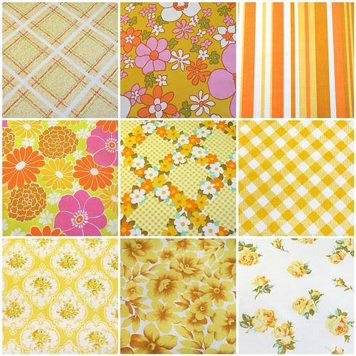 yellows, oranges, pinks - vintage sheets