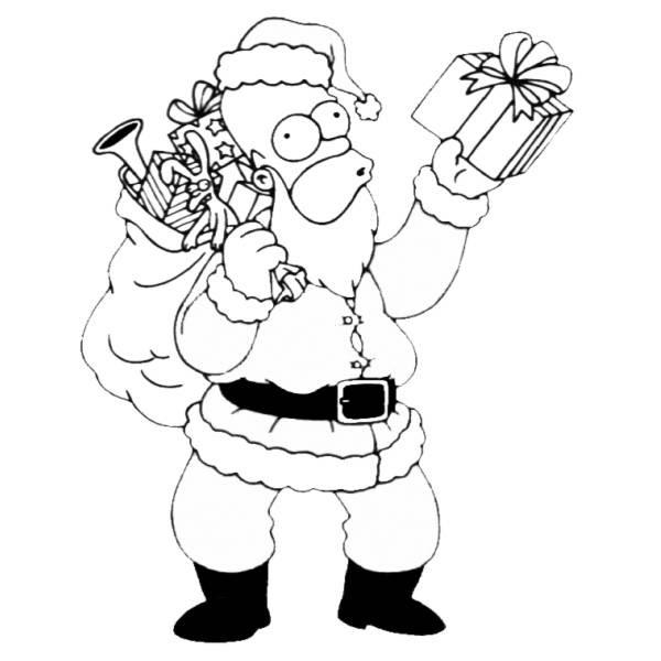 Disegno Di Natale In Casa Simpson Da Colorare Per Bambini