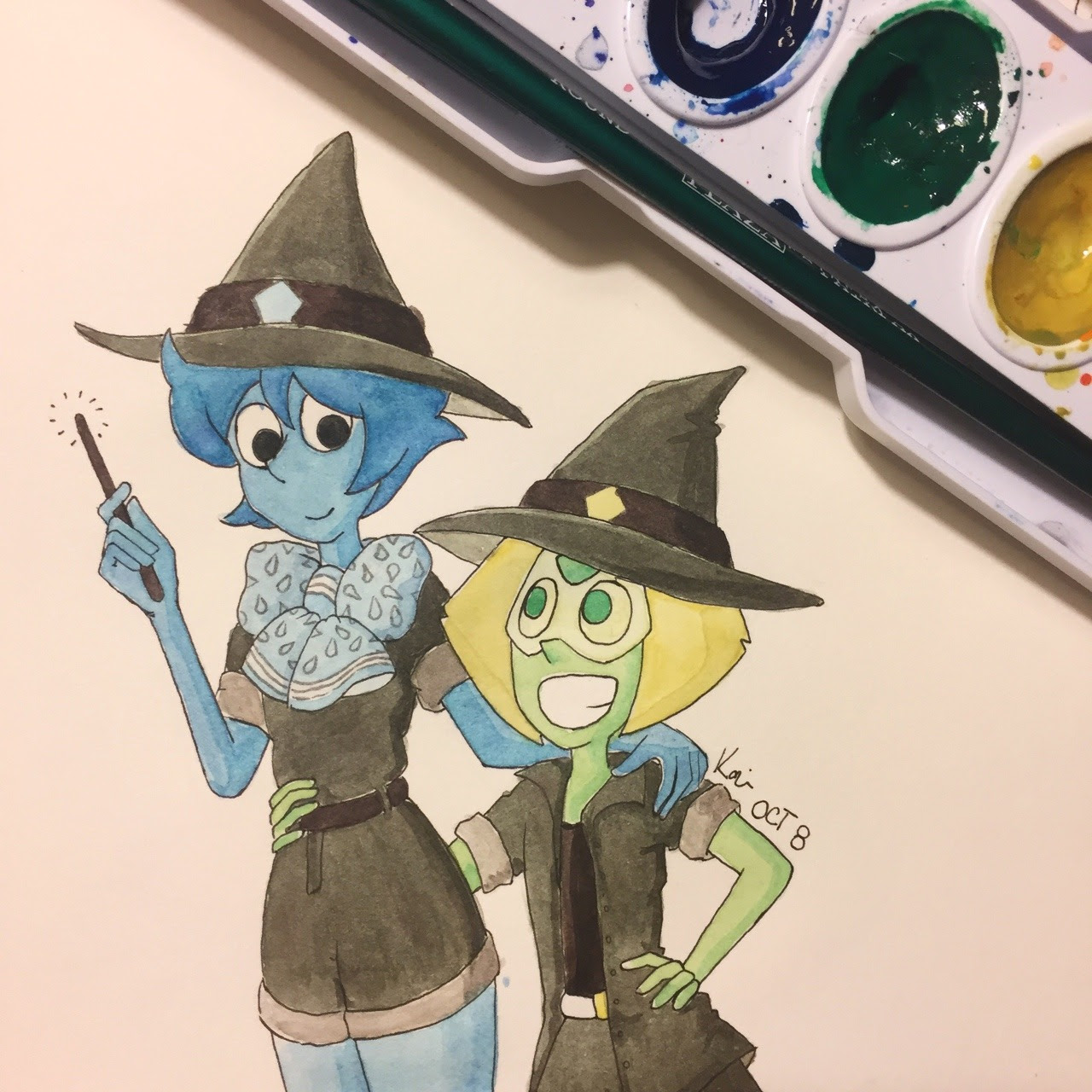 Inktober Day 8! (Still catching up y'all) Camper/ Scout Witch Naturally, Lapis and Peri in Camp Pining Heart cosplay (with matching witch hats)
