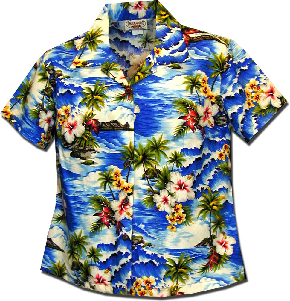 waikiki beach ladies aloha shirts blue