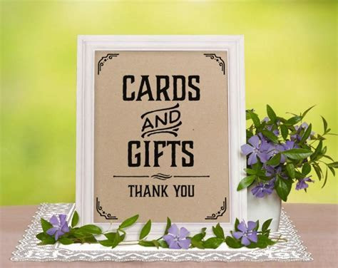 Printable Wedding Reception Sign. Cards And Gifts Sign