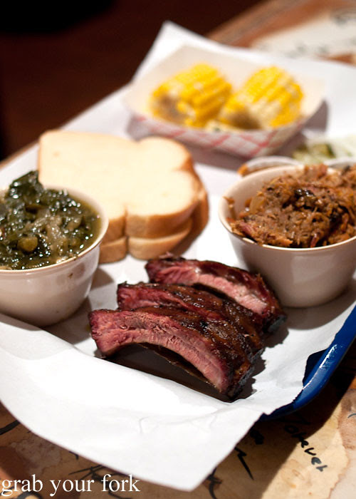 pork rib and pulled pork combo at ruby's bbq austin texas