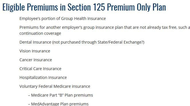 Pre-Tax Eligible Premiums in Section 125 Premium Only Plan ...