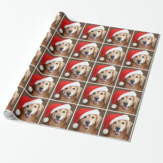 Golden Retriever With Santa Hat Christmas Gift Wrap