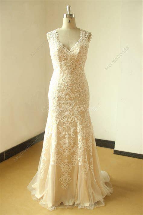 champagne bride gown keyhole  fit  flare vintage