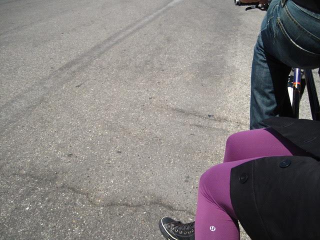 purple-tight monkey legs invade deep's bike