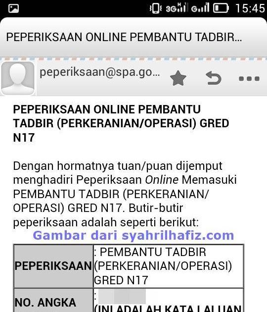 Contoh Soalan Temuduga Pembantu Tadbir Perkeranian Operasi Gred N19 Soalan N