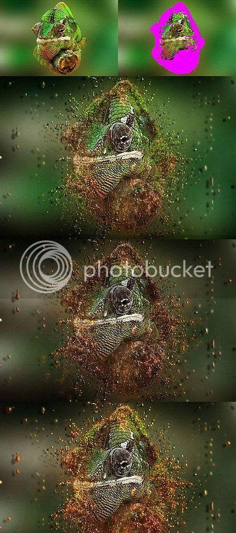 particles dispersion action photoshop