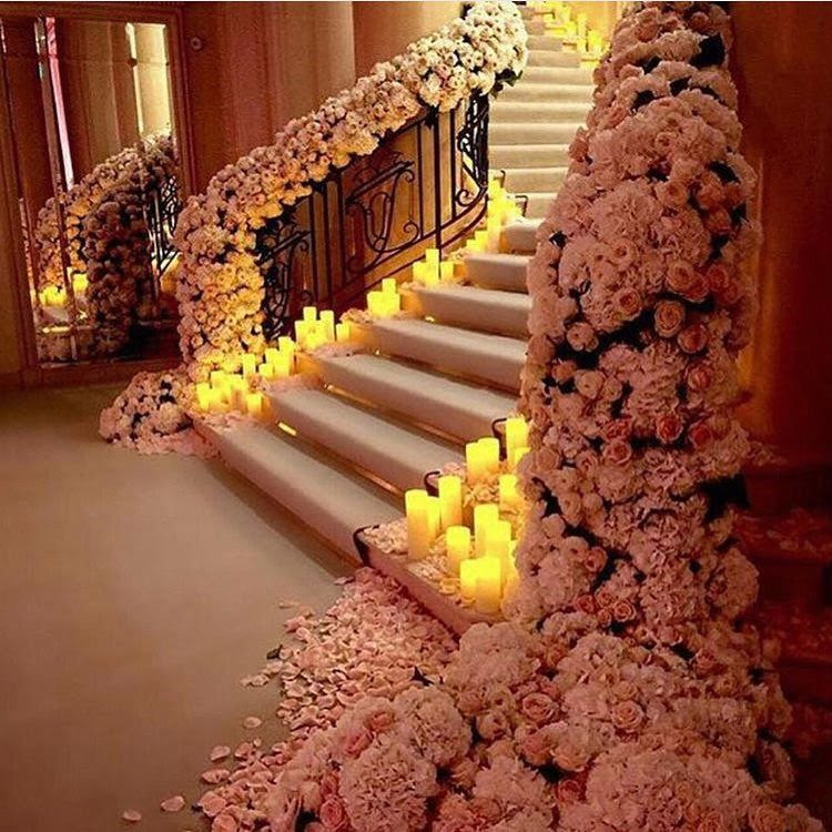 Beautiful Stairs With Flowers And Candles Pictures, Photos ...