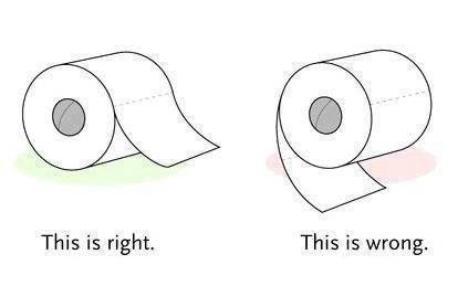 The correct way to put toilet paper on the roll.