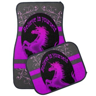 "Unicorn, ""Believe in yourself"" pink Floor Mat"