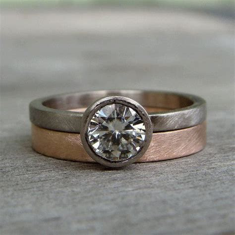 Moissanite Engagement Ring & Wedding Band   Forever One