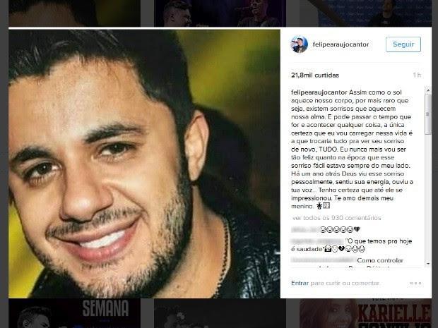 Irmão de Cristiano Araújo fez homenagem nas redes sociais, em Goiás (Foto: Reprodução/Instagram)
