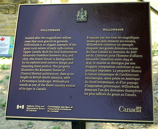 Historical marker for Willowbank, one of the finest country estates of its type in Canada.