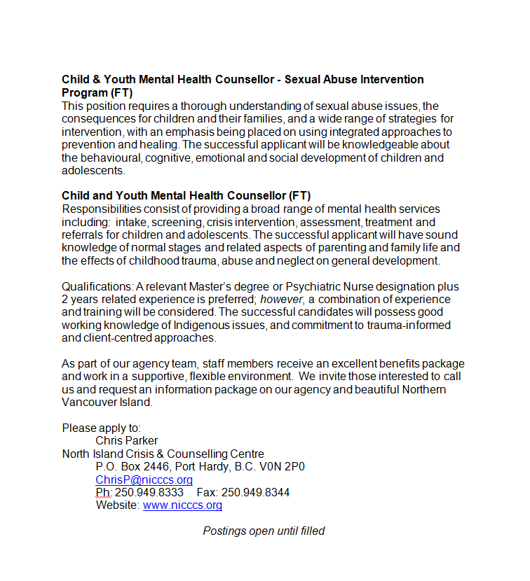Child Youth Mental Health Counsellor Job Postings North Island Crisis And Counselling Centre Society