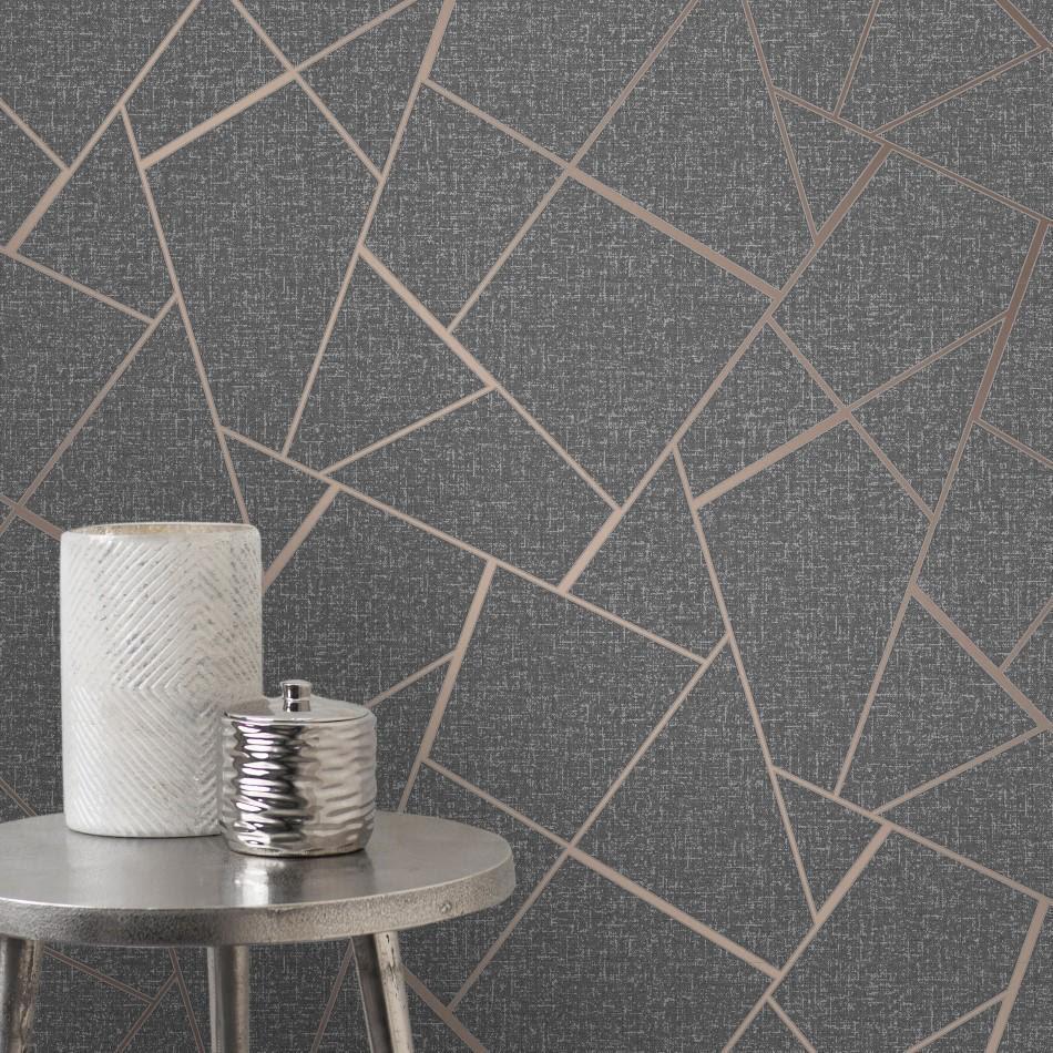 Quartz Charcoal / Rose Gold Geometric Wallpaper by Fine ...