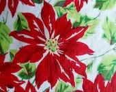 Vintage Christmas Poinsettia Hankie - PoplarStVintage