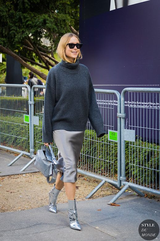 Le Fashion Blog Pernille Teisbaek Sunglasses Grey Turtleneck Sweater Silver Slipdress Silver Heeled Booties Via Style Du Monde