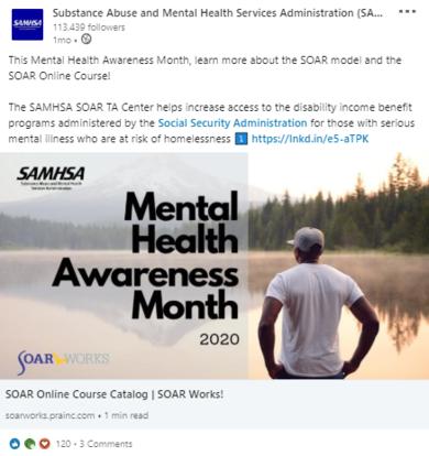 SAMHSA LinkedIn SOAR post promoting Mental Health Awareness Month