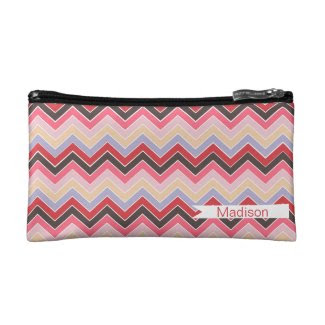 Vintage Fun {chevron pattern} Cosmetics Bags