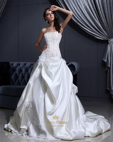 Ivory Strapless Satin Pick Up Wedding Dresses With