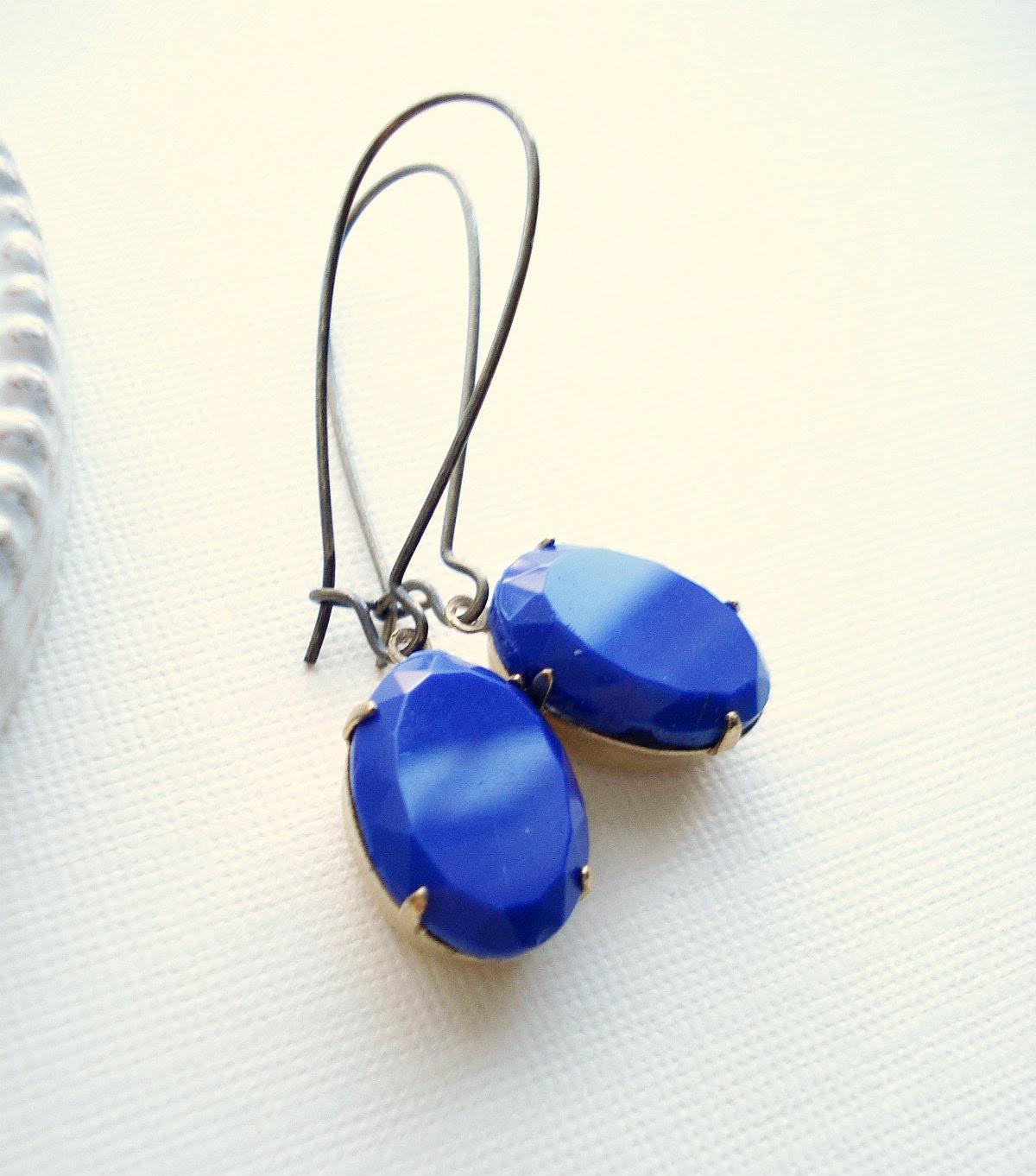 Cobalt Blue Long Drop Earrings In Brass, Dark Blue Dangle Earrings, Vintage Style Jewelry, серьги, сережки