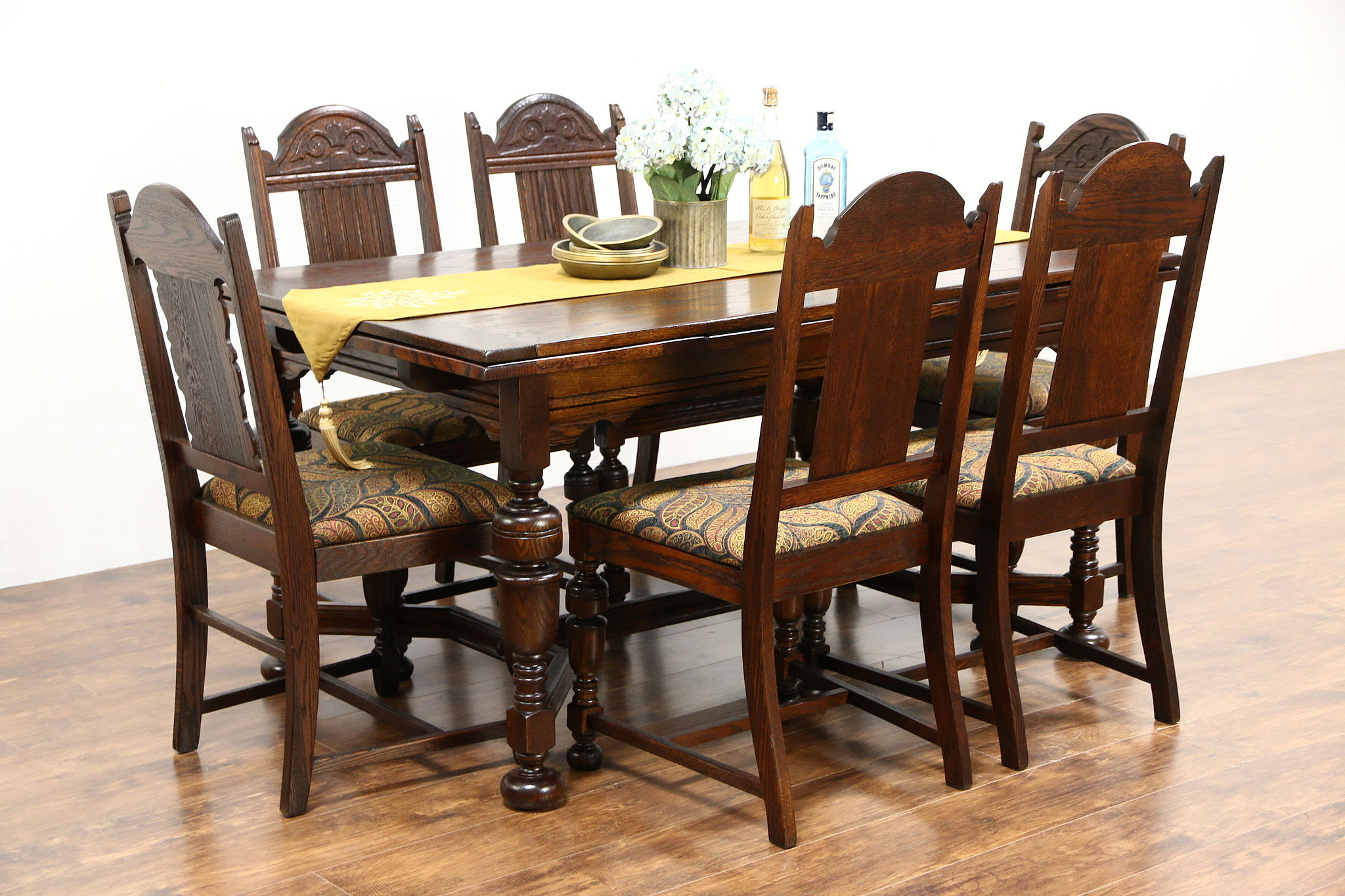 Sold English Tudor Antique 1920 Oak Dining Set Table 2 Leaves 6 Chairs Harp Gallery Antiques Furniture