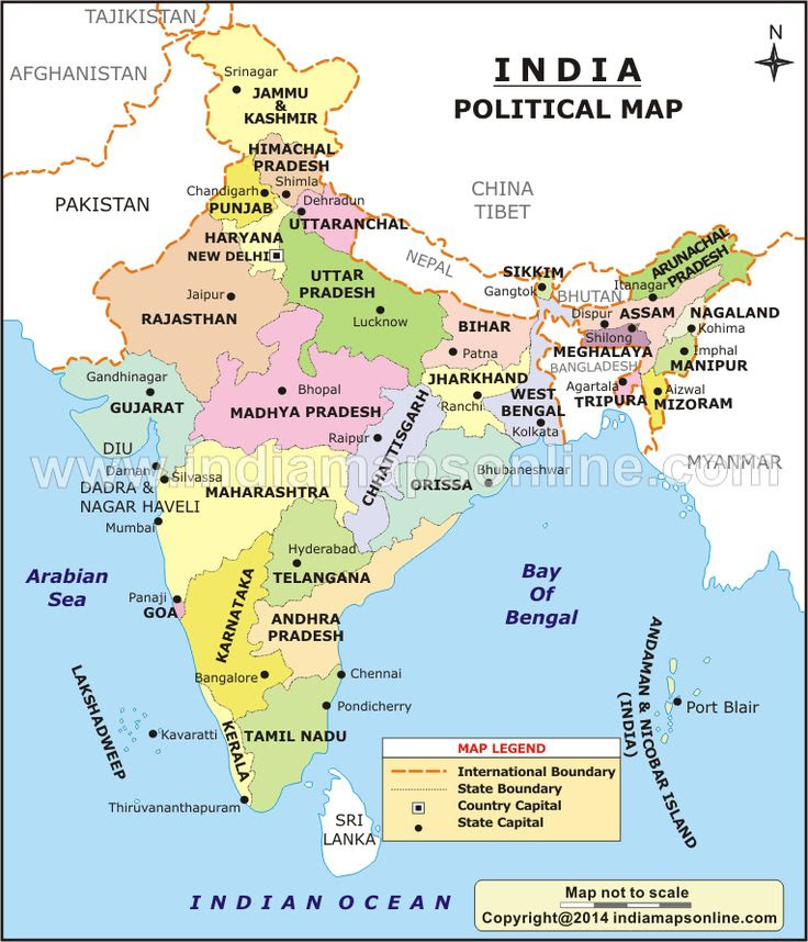 India Political Map Shows All The States And Union