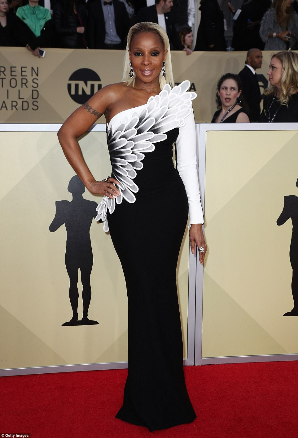 High flyer? Mary J. Blige looked as if she was about to take flight in this weird winged outfit
