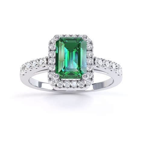 Princess Emerald and Diamond Emerald Cut Halo 18ct White