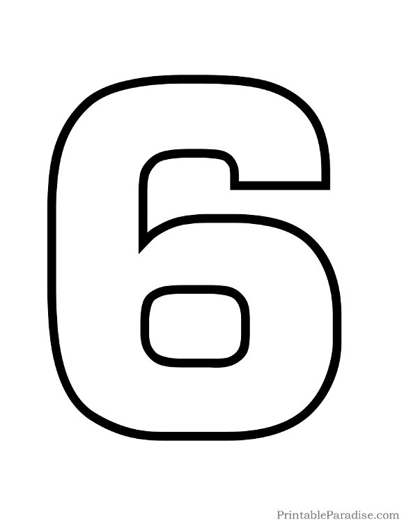 Printable Number 6 Outline - Print Bubble Number 6