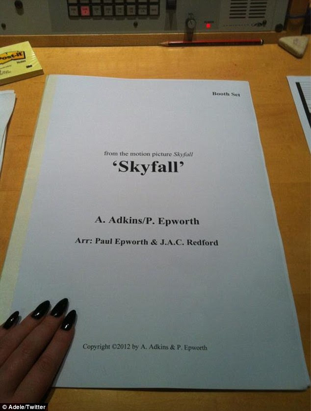 Announcement: Adele confirmed she would be singing the theme tune to Skyfall by posting a picture of the score on her Twitter page on Monday