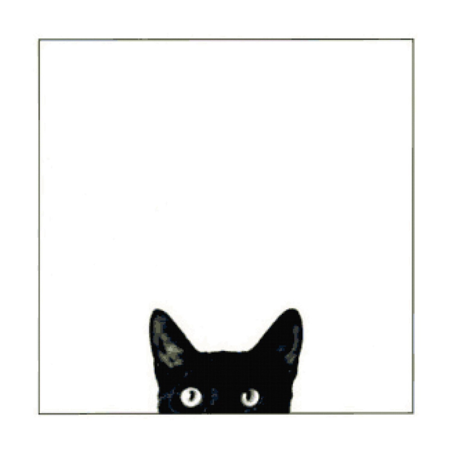 Handmade Black Cat Peeking Up PDF Cross-Stitch Pattern - BellaStitcheryDesign