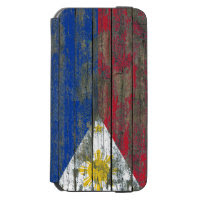 Filipino Flag on Rough Wood Boards Effect Incipio Watson™ iPhone 6 Wallet Case
