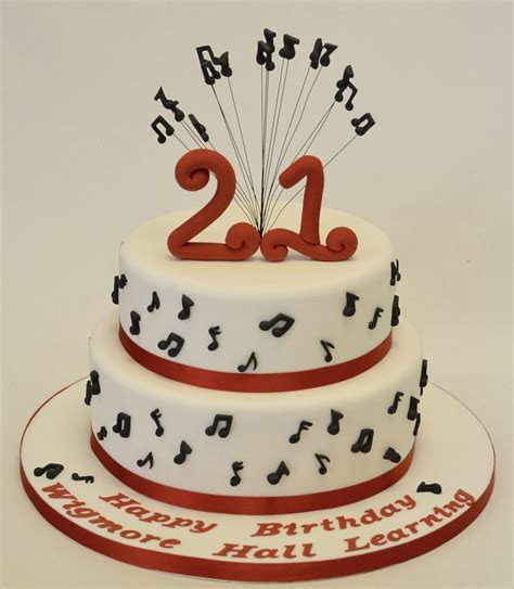Two Tier 21st Birthday Musical Notes Cake   Adult Birthday