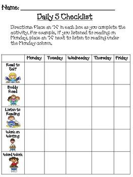 Daily 5 (or 3) Student Checklist by Mrs. Hos   Teachers Pay Teachers