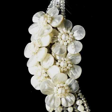 Silver Ivory Pearl & Austrian Crystal Flower Necklace