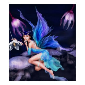Fairy with mushrooms poster from 14.95 print