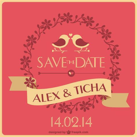 Save the Date Wedding Card Template Vector