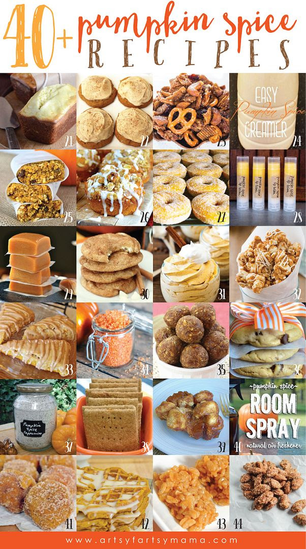 40+ Pumpkin Spice Recipes at artsyfartsymama.com