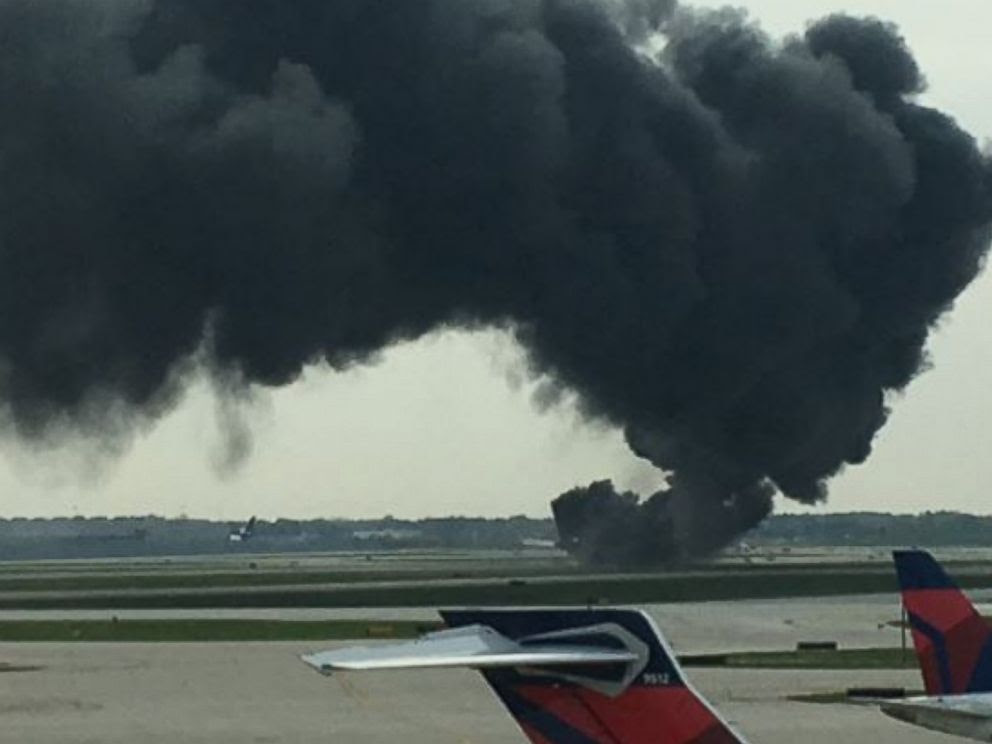 PHOTO: This image posted to Twitter shows American Airlines plane on fire at OHare International Airport in Chicago, Oct. 28, 2016.