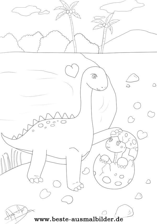 Dinosaurier Malvorlage Dinosaurier Mutter Und Kind Kostenlos Zum Ausmalen