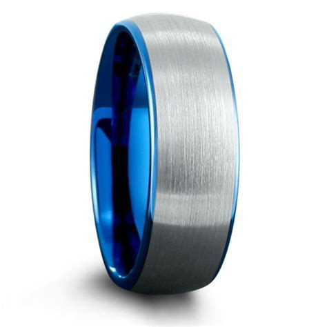 Mens Ocean Blue Brushed Tungsten Wedding Band ? Northern