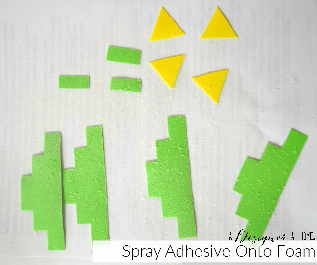 spray backs of foam with spray adhesive