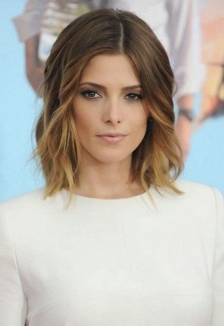 shoulder length middle part hairstyles