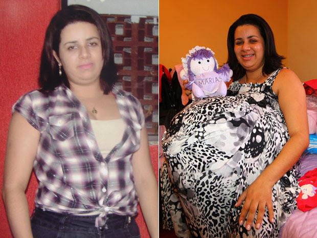 Mulher sem a barriga e antes, quando dizia esperar quadrigêmeos (Foto: (Fotos: Enilson de Castro/Divulgação e Rogério Marques/O Vale/AE))